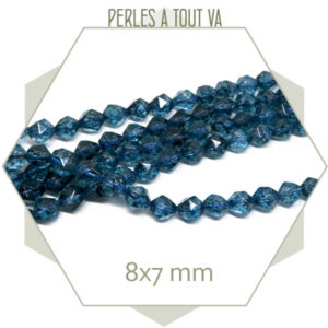 49 perles polygones Quartz bleu 8x7mm