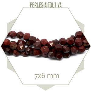 62 perles polygones rainbonw stone rouge 7x6mm