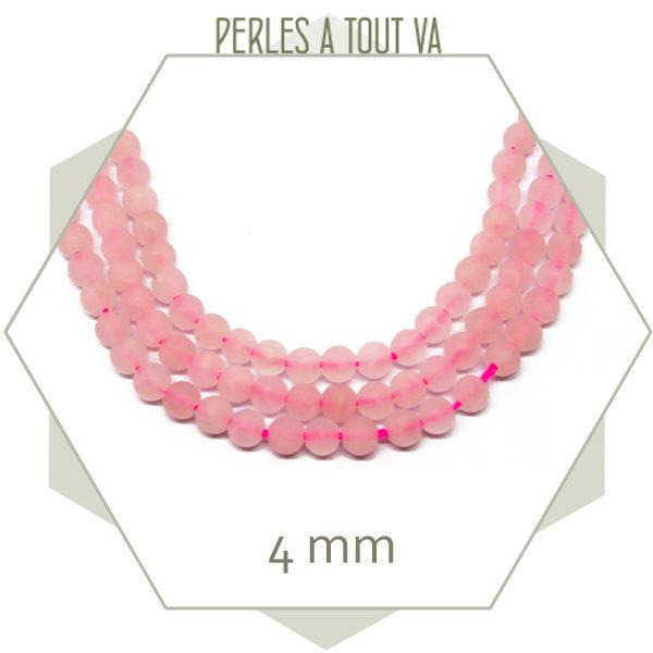 45 perles rondes Quartz rose 4 mm dépoli