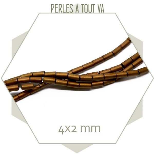 98 perles tubes en hématite 4x2mm cuivrée