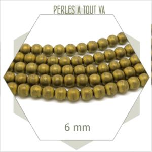 72 perles rondes hématite 6 mm métallisées bronze mat