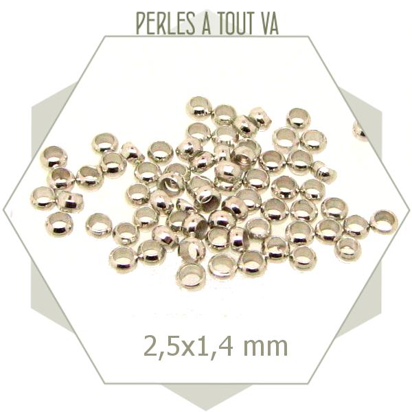 130 perles à écraser argent 2,5 mm