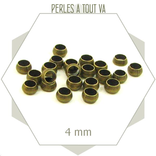 grosses perles à écraser 4mm couleur bronze - perles à tout-va