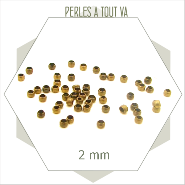 400 perles à écraser  bronze 2 mm