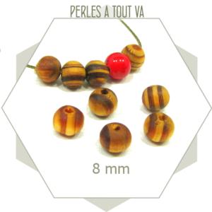 100 perles 8mm bois nervuré