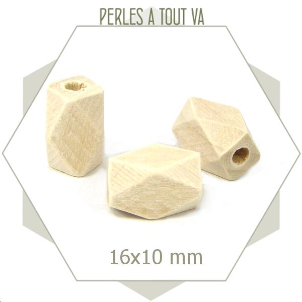 20 perles polygones ovale bois brut