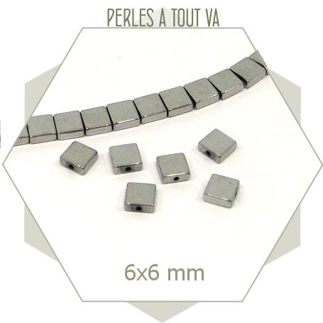 30 perles carrées hématite couleur argent - 6 mm