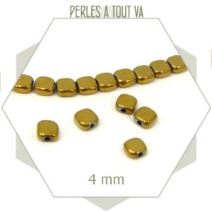 95 perles carrées dorées métallisées, carré arrondi, hématite