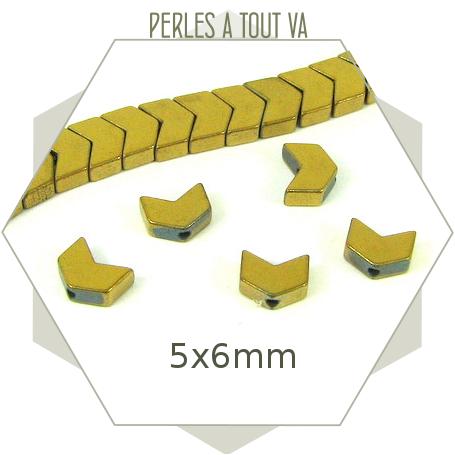 40 perles hématites chevrons, aspect doré métallisé