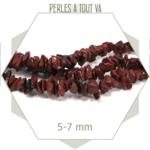30 cm de perles chips en obsidienne marron