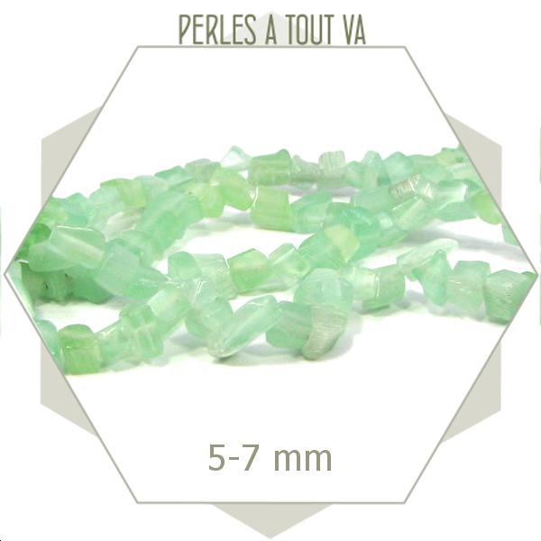 32 cm de perles de verre oeil de chat vertes
