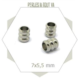 10 perles tubes en acier inox, perles longues