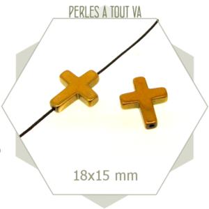6 perles croix en hématite dorée, chapelet, sautoir,