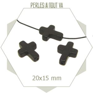 20 perles croix en howlite noire