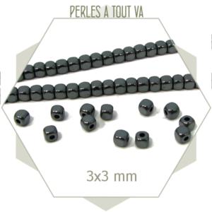 125 perles cubes arrondis hématite gris foncé 3 mm