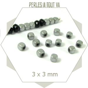 130 perles hématite cubes 3mm argent métallisé, cubes pour créations originales