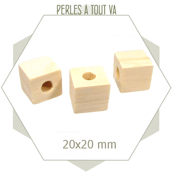 12 perles cubes en bois brut