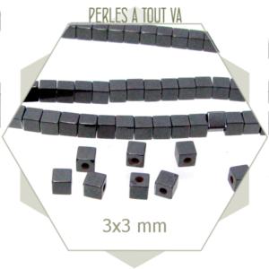 Lot de 125 perles en hématites cubes 3 x 3 mm anthracites , éléments carrés pour créations