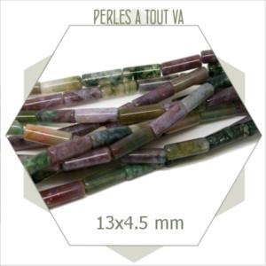 Rang de 29 perles tube d'agate indienne, 13x4,5 mm
