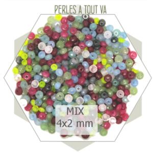 10 g perles de jade 4x2 mm, mix de couleurs