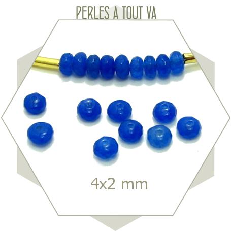 116 perles de jade bleu foncé - 4x2 mm