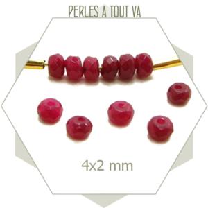 116 perles de jade 4x2 rouge foncé