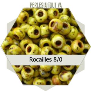 perles de rocailles 8/0 jaune picasso 8g, perles de verre Tchèque