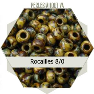 perles de rocailles 8/0 marron picasso 8g, perles de verre Tchèque