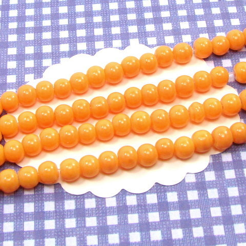 190 perles de verre rondes 4mm orange clair