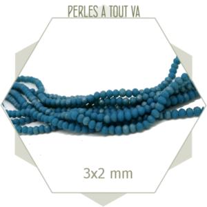 200 perles de verre à facettes donuts bleu mat 3x2 mm