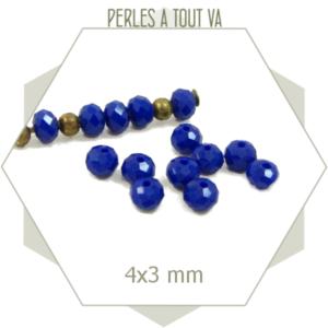 135 perles de verre à facettes donuts bleu cobalt 4x3 mm