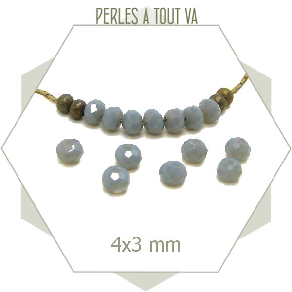 130 perles de verre à facettes donuts grises 4x3 mm