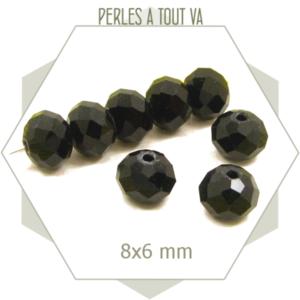 68 perles de verre à facettes donut 8x6 mm noir