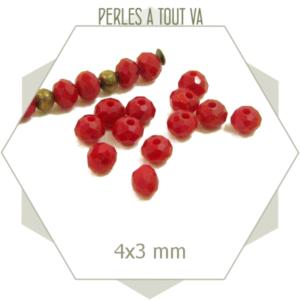 145 perles de verre à facettes donuts rouge rubis 4x3 mm