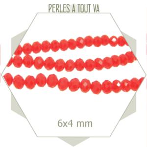45 perles de verre à facettes donuts rouge clair 6x4 mm