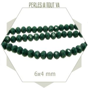 95 perles de verre à facettes donuts vert émeraude 6x4 mm
