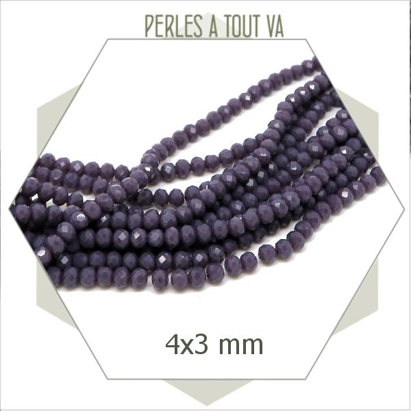 145 perles de verre à facettes donut violettes opaques 4x3 mm