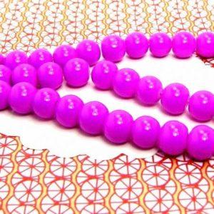 100 perles de verre rondes 8mm rose magenta