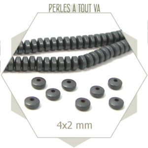 195 perles lentilles en hématite 4 mm gris mat