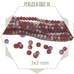 200 perles de verre à facettes donuts rouge mat  3x2 mm