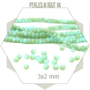200 perles de verre à facettes donuts vert mat  3x2 mm