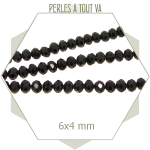 95 perles de verre à facettes donuts noires 6x4 mm
