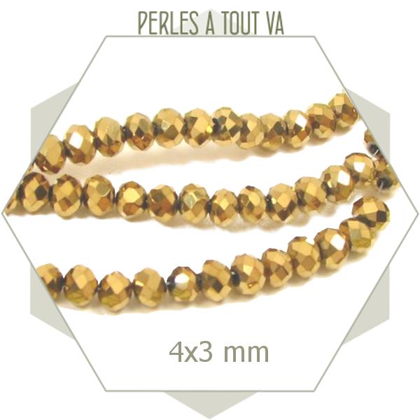 95 perles donuts en verre dorées -  4x3 mm