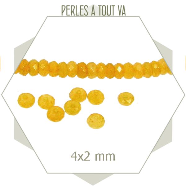 130 perles de jade 4x2 mm jaune miel, ambre