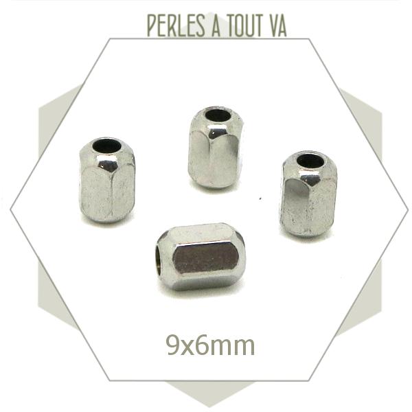 10 perles hexagones acier, perles longues