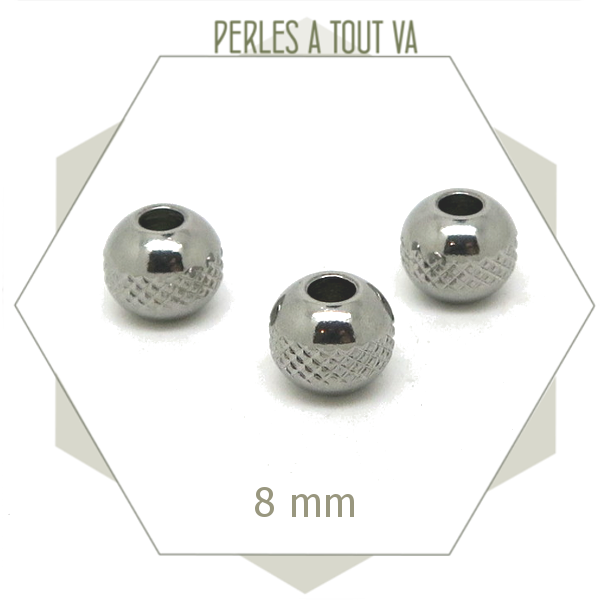 10 perles rondes ciselées en acier, perles 8 mm