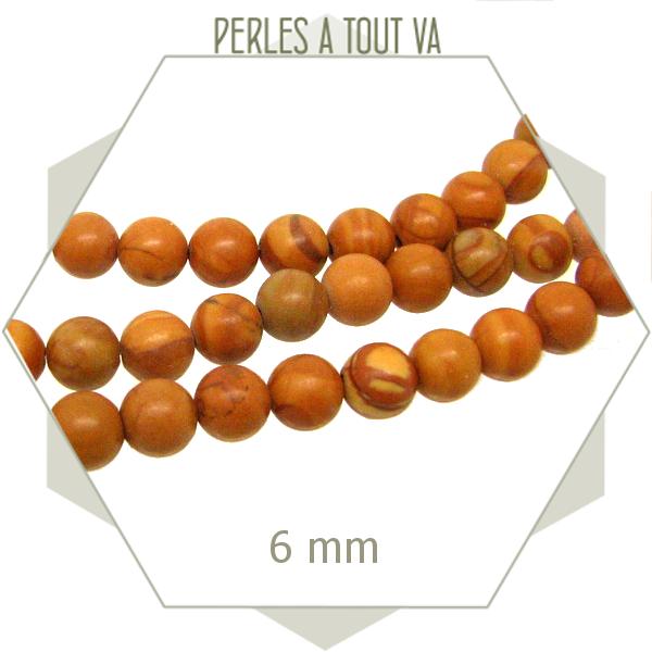 62 perles rondes 6 mm en grain stone mat