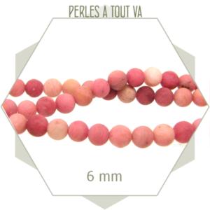 63 perles rondes 6 mm Rhodochrosite dépolie rose