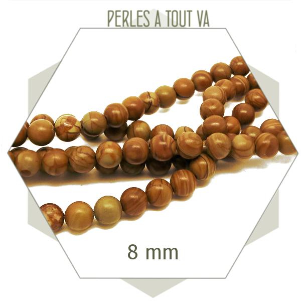 46 perles rondes 8 mm en grain stone mat