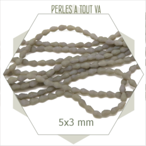 95 perles gouttes en verre gris taupe mat - Perles à facettes